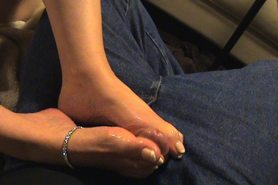 Molly begs for a hot load on her french pedicured toes