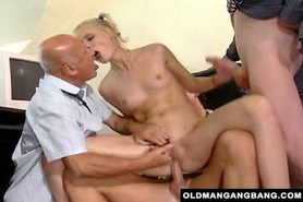 No Sound: Blonde takes old bosses' anal gangbang