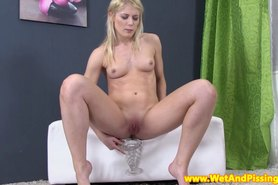 Piss drinking small titted blonde beauty