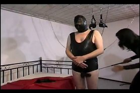 Slutty domina humiliating her slave