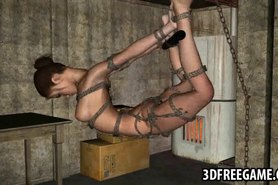 Tied up 3D cartoon babe hanging from the ceiling