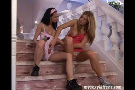 Lesbian teens Priscilla and Paula lick and toy twats