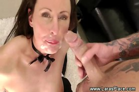 Cock hungry milf gets a mouthful of cum