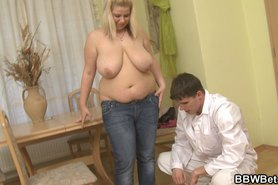 Chubby babe takes his heavy cock