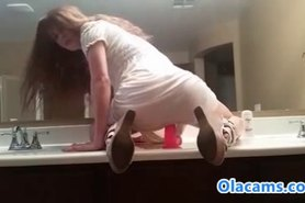 Hot young teen riding on webcam