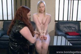 Blonde fetish babe Satine Sparks lesbian bondage and lezdom slave tied and gagged by female dominant mistress