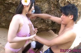 Beautiful asian teens get naked at the beach
