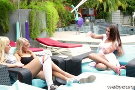 Damn lesbo party sex with the hot teens Janice August and Carmen