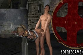3D cartoon blonde babe getting fucked by a vampire