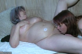 Granny is very horny great threesome