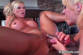 Old and young slut having wet lesbian fun