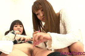 Petite japanese teen licked out by group