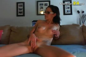 sexy brunette with glasses play