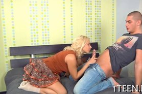 Babe delighting stud with fellatio