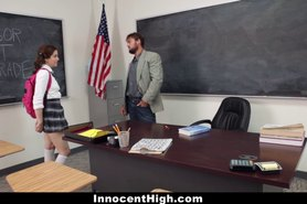 Pigtailed Detention Slut Gets Deep Throated!