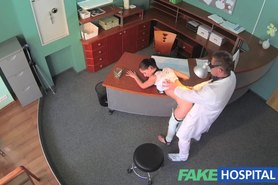 Sexy patient bent over the receptionists desk and fucked from behind