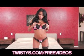 Perfect Latina bombshell Anissa Kate rubs her pussy