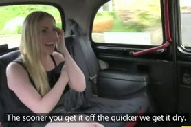 Busty blonde flashing boobs on backseat in fake taxi