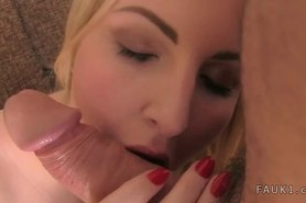 Huge tits blonde amateur fucks on couch