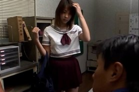 Jap girl in uniform massaged erotically by horny teacher