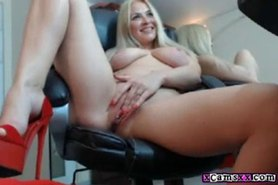 Busty blonde slut rubs and masturbates her slut pussy