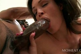 Dirty brunette eats and fucks neighbors giant black dick