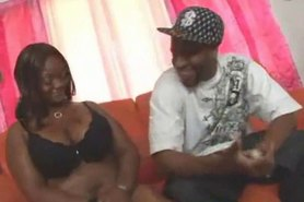 Fat Ebony sucking big black cock and ridding on it