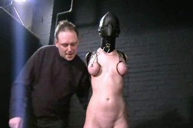 Sensory deprived slaveslut Cherry Torns leather fetish and extreme bdsm of american submissive in tit tortures and humiliation
