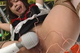 Japanese Maid Uniform Slave Chained to Rack and Punished Severely by FemDom