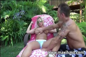 Hot milf blonde gets fucked poolside