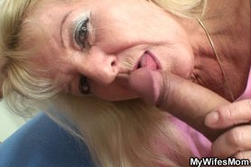 Old blonde in law rides his cock