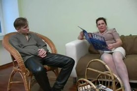 Granny in White Stockings Satisfies the Boy