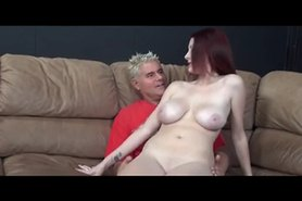 Giggling red head with great tits enjoys doing porn