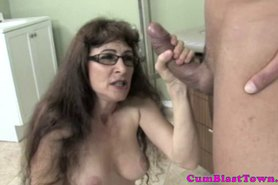Cum loving granny being goo showered