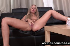 Honey in black pantyhose urinates for cam