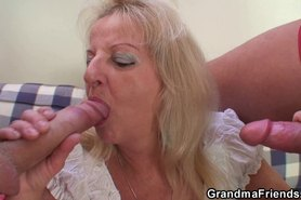 Riding grandmother sucking another cock