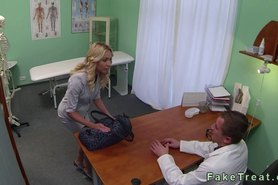 Hot blonde sales rep fucked by doctor in his office