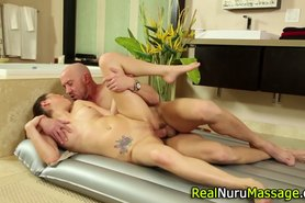 Nuru massage ends in cum