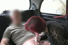 Redhead lady gets fucked and creampie in fake taxi