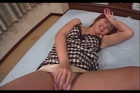 Dirty Asian nymph getting cunt tickles in her panties