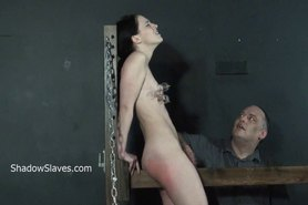 Crying teen slave Kamis wooden device bondage and electro bdsm of amateur submissive in pain and punishments