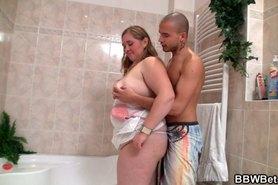Hot BBW swallows stiff rod in the bathroom