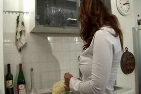Hot Busty Euro MILF In Boots Banged In Kitchen