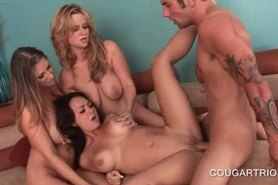 Dirty cougars sharing a big load in group