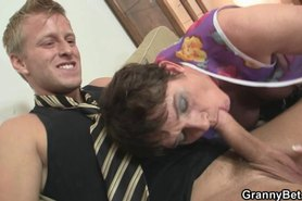 Mature spreads legs for young cock