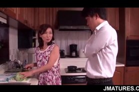 Excited mature Asian housewife banging her lover in bedroom