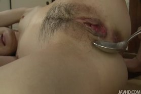 Cum Filled Aoba takes a teaspon of her own pussy juice mixed with hot jizz