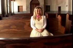 blonde teen fucked  and creampie in a church