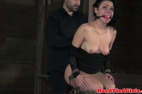 Tied up sub moans of pain in dungeon