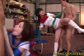 Squirting japanese cosplay teen in foursome